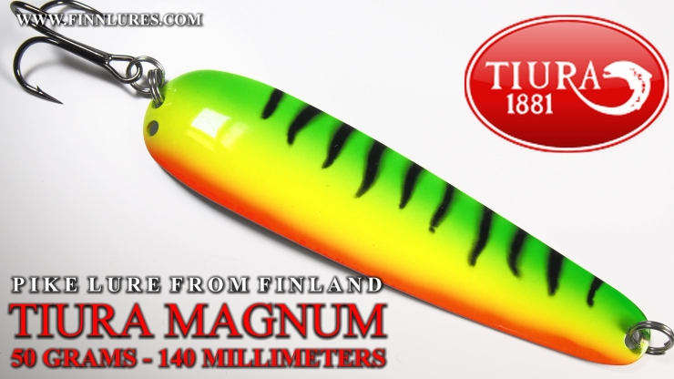 TIURA MAGNUM PIKE SPOON - 50G/140MM - TIURA MAGNUM HAUKILUSIKKA. This spoon is a great transformation from Magnumtiura salmon spoon, that´s littlebit a lighter and made for trolling. Easy to cast and kick´s strongly during swimming. #tiura #tiuralures #magnumtiura #finnlures #haukilusikka #pikelure #gädda #pikefishing #ambulance #viehe