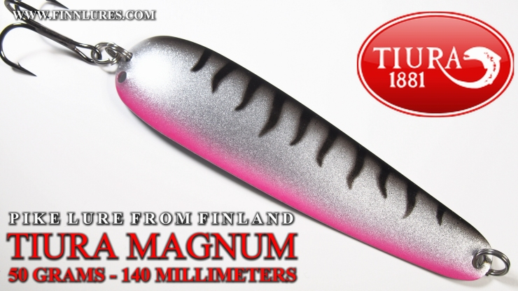 TIURA MAGNUM PIKE SPOON - 50G/140MM - TIURA MAGNUM HAUKILUSIKKA. This spoon is a great transformation from Magnumtiura salmon spoon, that´s littlebit a lighter and made for trolling. Easy to cast and kick´s strongly during swimming. Colors are desing to tease fish in every conditions. #tiura #tiuralures #magnumtiura #finnlures #haukilusikka #pikelure #gädda #pikefishing #FT #viehe #herring