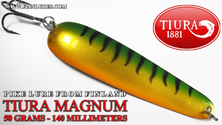 TIURA MAGNUM PIKE SPOON - 50G/140MM - TIURA MAGNUM HAUKILUSIKKA. This spoon is a great transformation from Magnumtiura salmon spoon, that´s littlebit a lighter and made for trolling. Easy to cast and kick´s strongly during swimming. Colors are desing to tease fish in every conditions. #tiura #tiuralures #magnumtiura #finnlures #haukilusikka #pikelure #gädda #pikefishing #FT #viehe #herring #perch #ahven #abborre