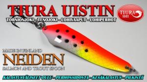 Tiura Uistin Neiden - Long casting spoon for Salmon and Trout. #tornionjoki #tenojoki #finnlures #tiura #tiurawobbler #tiurauistin #salmon #lax #lohi #vaappu #wobbler #köder #finland #teno #neiden #lohivaappu #kalastus #fishing #fish #angling #biglure #isolohi #legend #vetotiura #magnumtiura #rowing #soutuvaappu #color #goodcolor #best #salmonlure #lohenuistelu #oulu #kalastusvälineet #taimen #trout #meritaimen #lohiviehe #öringsfiske #tiuraspoon #magnum #laxfiske #lusikka #spoon